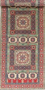 Geometric Tribal 19 ft Long Wide Runner GREEN Super Kazak Oriental Rug Wool 5x19