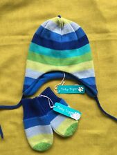 Toby Tiger blue/green stripe knitted hat and mittens set BNWT 1-2 years