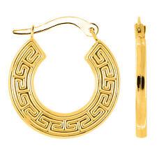 14K Yellow Gold Round Greek Key Hoop Earrings, Diameter 15mm