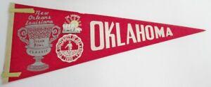 "Vintage 1973 Oklahoma Sooners Football Sugar Bowl Pennant 11x28"" 74221"