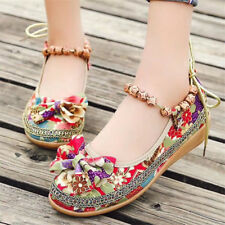 Women's Flat Canvas Sandals Casual Retro Floral Round Toe Beaded Shoes Fashion