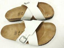 Birkenstock Birkis White Sandals 40 Slippers Women's Size 9 slip on-- VGC!!