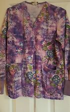 womens scrub jacket size small by white swan purple with floral print