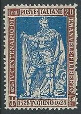 1928 REGNO FILIBERTO VITTORIA 20 CENT D. 13 3/4 MH * - G203