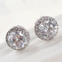 Women's Nice Crystal Zircon Inlaid Ear Stud Platinum Plated Earrings Jewwlry