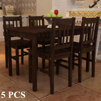 Wooden Dining Table Set with 4 Chairs Kitchen Dining Room Home Furniture Brown