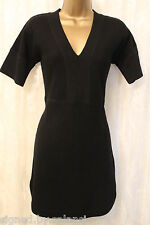 Karen Millen Black Merino Wool V Neck Aline Tunic Essential Jumper Dress S 10 38