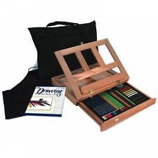 Portable Travel Beginners Drawing Set - 44 Piece Art Kit With Wooden Easel
