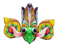 "Hand Carved Wood Wall Home Decor Traditonal Gara Raksha Mask 8"" Great Detailed!"