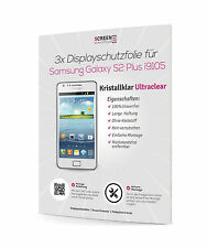 3x Displayschutzfolie für Samsung Galaxy S2 Plus GT-I9105P Klar Schutzfolie