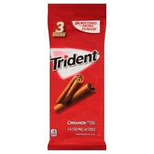 NEW SEALED TRIDENT CINNAMON GUM 3 PACKS FOURTEEN STICK PACKAGES MORE FLAVOR