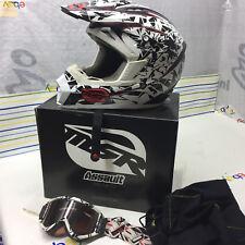 Helmet Motocross ATV MSR Fracture Red White Black with Matching Scott Goggles Lg