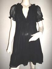 LEGERE EVASEE ROBE TUNIQUE H&M NOIR DOUBLE EFFET VOILE VOLANT COL ET MANCHE T:S