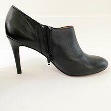 Coach Women's Boots Ankle Shoes Seneca Glazed Leather Zip Black Size 9 #5501