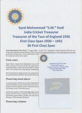 SYED MOHAMMAD HADI INDIAN CRICKET TRESURER 1936 RARE ORIGINAL AUTOGRAPH CUTTING