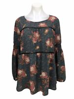 Knox Rose Women's Blouse  Black Floral Tie Back Tassel Long Sleeve Top Size XL