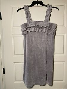 Women's Gray Terry Cloth Wrap Cover-up Jasmine & Ginger Size L XL Adjustable