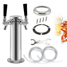 Double Tap Draft Beer Tower Stainless Steel Bar Pub Kegerator Dual Chrome Tap