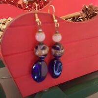 Cloisonne Dangle Earrings Gold Tone 3 Blue Pink Glass Bead