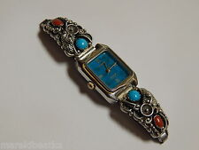 VTG  NATIVE AMERICAN NAVAJO STC STERLING TIPS & WOMENS WATCH, WITH STONES