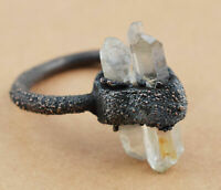 Natural Raw Rough Crystal Quartz Gemstone Solitaire Stackable Women Ring Jewelry