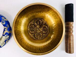 "6 1/2"" (Throat Chakra) Tibetan Brass Hammer Finished Singing Bowl - 1.1 kg  ॐ"