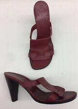 $900 HERMES Paris Deep Red H Calfskin Leather Block Heels 36.5 eu / 6.5 us