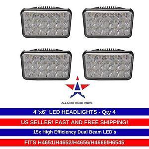 4x LED Sealed Beam HEADLIGHTS For Peterbilt Rectangular Headlights 379 378 357