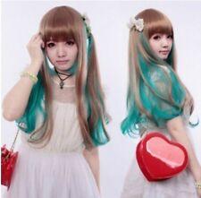 popular New Cosplay lolita Harajuku Brown green mix Long Wig   AE263