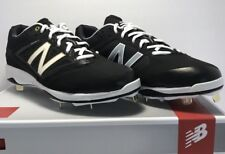 New Balance Mens Size 11 WIDE Low Metal Baseball Cleats Black Gold White Gray