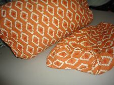 POTTERY BARN ORANGE IKAT DIAMOND LUMBAR BOLSTER (2) THROW PILLOW COVERS 12 X 24