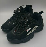 Kid's Fila Disruptor II Black White Red Sneakers FW04544-014 Size  6