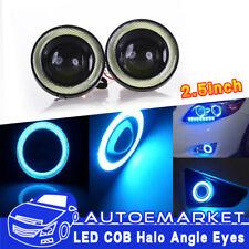 2x Angel Eye Blue COB Halo Ring Car SUV LED DRL Projector Lens Fog Market Light