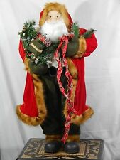 "36"" Christmas Collection Santa Clause plastic Figure Handcrafted High Qlty Velvt"