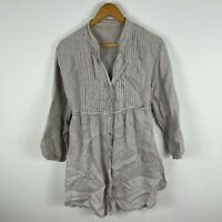 Made In Italy Womens Linen Dress S/M AU 8-10 Grey Long Sleeve V-Neck Lagenlook