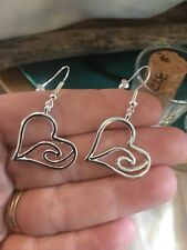 Heart With A Wave Wire Hook Silver Alloy Valentines Love