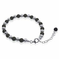 "Made with Swarovski Elements Black Onyx Beads 925 Silver 9"" Adjustable Bracelet"