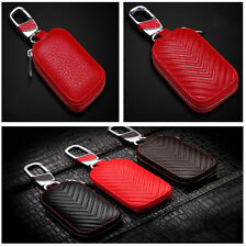 Universal for Auto Car SUV Pickup Offroad  Red Genuine Leather Key Holder Case