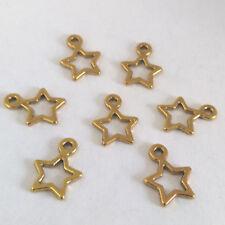 LOT de 30 PENDENTIFS perles breloques ETOILES DOREES 14 x 11mm fimo bijoux STAR