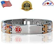 316L TITANIUM STAINLESS STEEL MAGNETIC MEDICAL ALERT ID BRACELET ARTHRITIS MD01