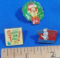 LOT 3 Rare McDonald's Pins Ronald Xmas Service QSCV Customer Care Speedy Logo