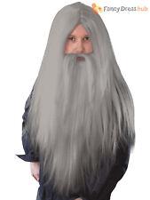 Mens Wizard Wig + Beard Halloween Gandalf Halloween Fancy Dress Outfit Accessory