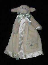 Bearington Baby Lamb Security Blanket Lovey Ivory Green Bow