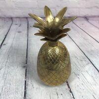 "Brass Pineapple Trinket Dish Lidded Box Candle Holder Decorative 7.75"" / India 3"