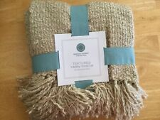 Martha Stewart Collection Textured Yarn Throw Blanket 50 X 60 Inches, NEW