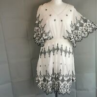 Karen Millen White Black Broderie anglaise Summer Sun Dress Knee  10 RRP £145