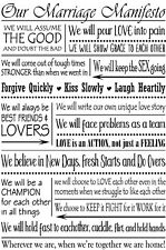 Reusable Adhesive Silkscreen Stencil Marriage Manifesto DIY Wedding Gift Craft