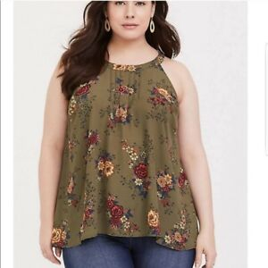 Womens Plus Size Brown Sleeveless Top 3XL Embellished Neckline Floral