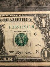 """$1 US DOLLAR BILL """"true """" RARE Binary  Note F15511511N—2006"""