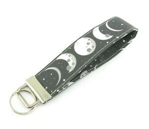 Moon Phases Key Fob Keyring Wristlet Swivel Clip Lanyard/ID Badge Holder